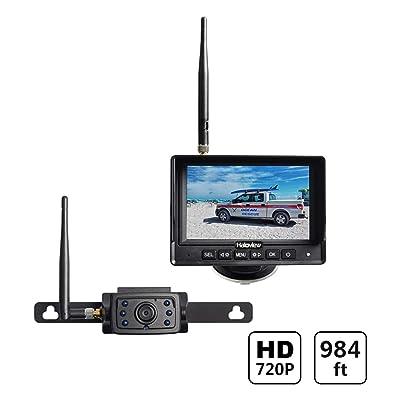 Haloview MC5111 5\'\' 720P HD Digital Wireless Backup Camera System 5\'\' LCD Rear View Monitor and IP69K Waterproof Reversing Built in DVR Kit for Trucks/Trailer/Bus/RVs/Pickups/Camper/Vans: Car Electronics [5Bkhe0112143]