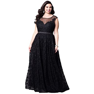 Yujeet Womens Long Evening Dresses Plus Size Empire Waist Lace Party Dresses Sleeveless Pleated Maxi Dress