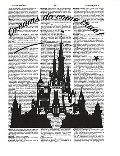 Signature Studios Walt Disney Castle quote Dictionary Art Print Silhouette wall decor photo upcycled mixed media art 8x10