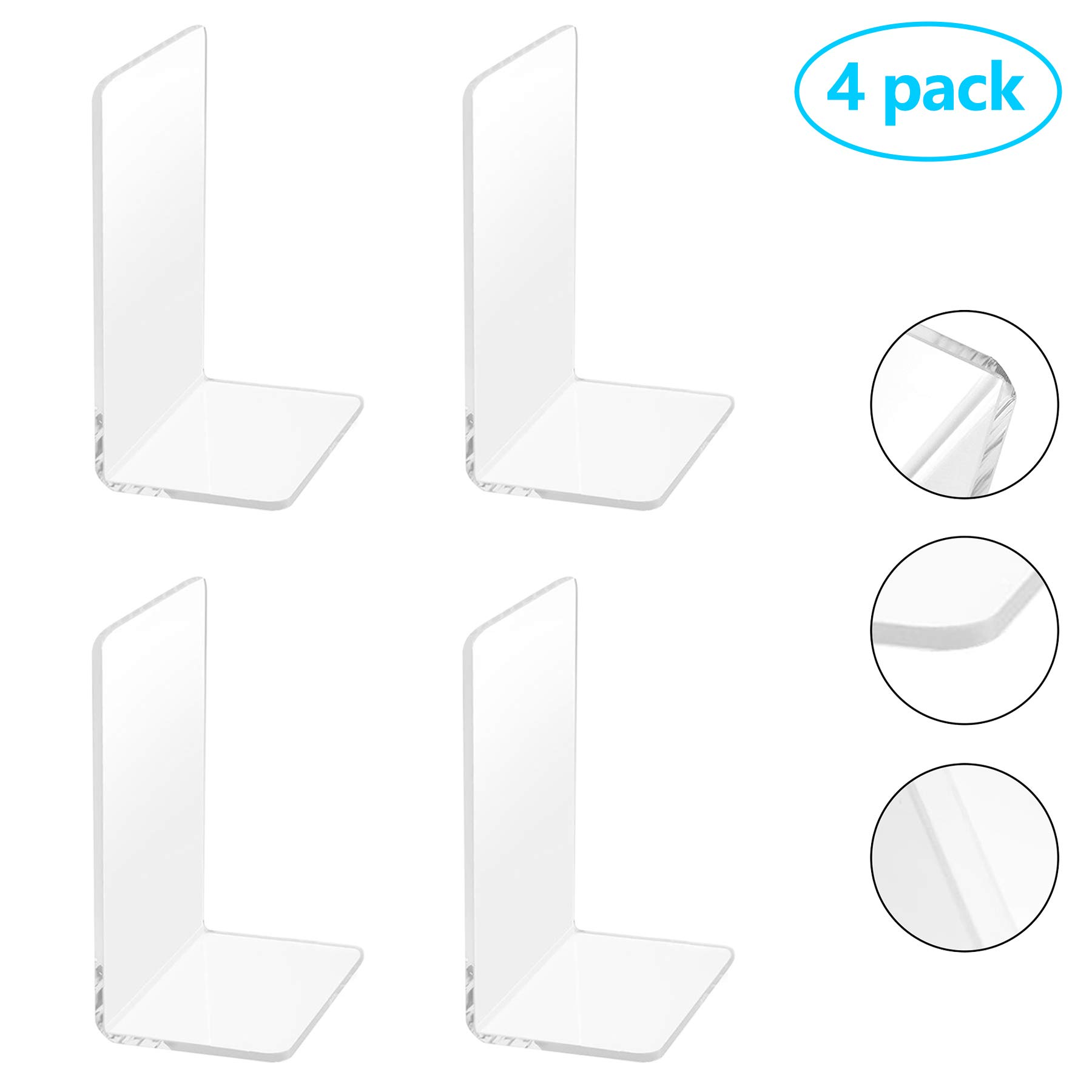 2 Pairs/4 Pieces Plastic Acrylic Bookends with Round Corner, Clear Bookends for Books, Movies, DVDs, Magazines, Perfect for Bedroom Bookshelf Library School Office, Transparent, 7.3 x4.8 inch by Frontoper