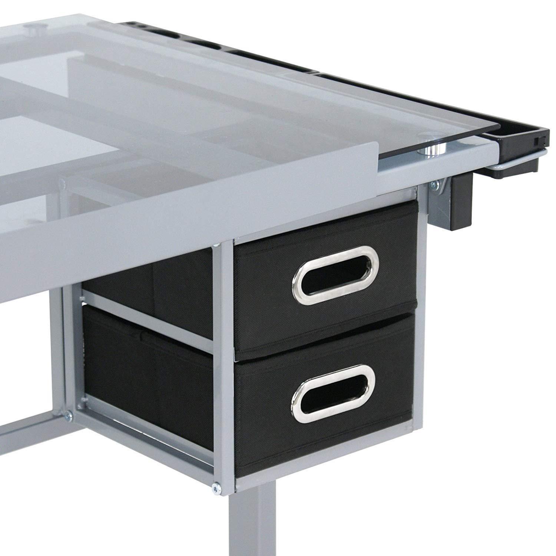 HomGarden Adjustable Drafting Drawing Table Desk Tempered Rolling Glass Top Art Craft Station Desk w/2 Slide Drawers and Castors by HomGarden (Image #8)