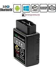 Friencity Bluetooth coche OBD II 2 OBD2 escáner adaptador, vehículo de motor lector de código para coche de diagnóstico Scan Tool Check Engine Light,Para dispositivos Android y Windows, no para iOS