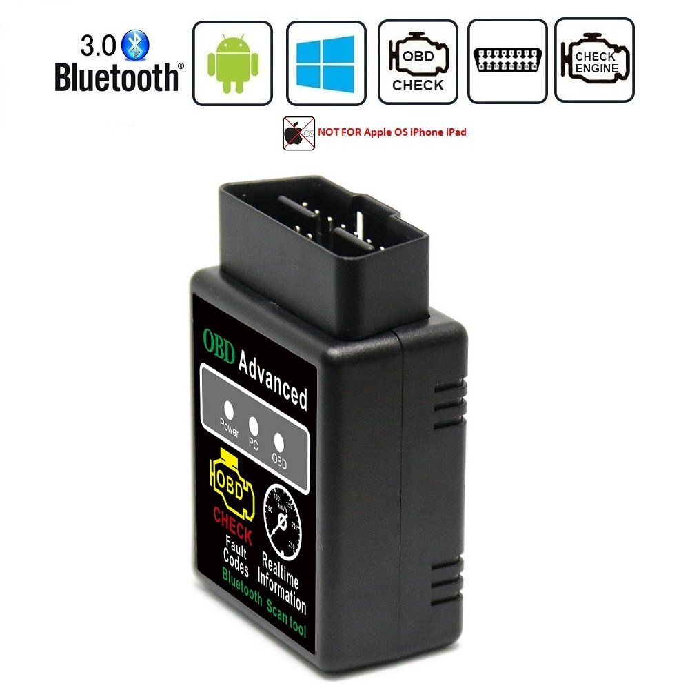 Friencity Bluetooth Car OBD ii 2 OBD2 Scanner Adapter, Vehicle Engine Code Reader for Car Diagnostic Scan Tool Check Engine Light, Compatible with Android & Windows Devices, NOT for IOS YYCH