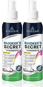 Smoker's Secret Smoke Odor Eliminator Spray-Professional Cigarette, Cigar, Pot Smell Remover-Air Purifier, Freshener, Deodorizer-Home, Car, Clothes, Furniture, Office-Non-Toxic (Lemongrass, 2-Pack)