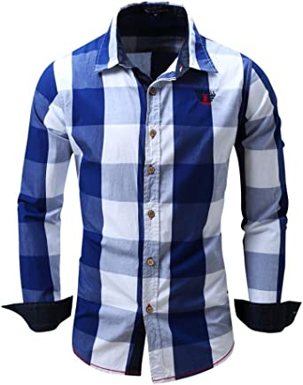 Camisas hombre Camisa de manga larga de algodón del dril de algodón cuadros solapa Mejores cuadros Fit Slim, YanHoo® camisas hombre comprar Casual para hombre manga larga camisa del negocio (Azul, L):