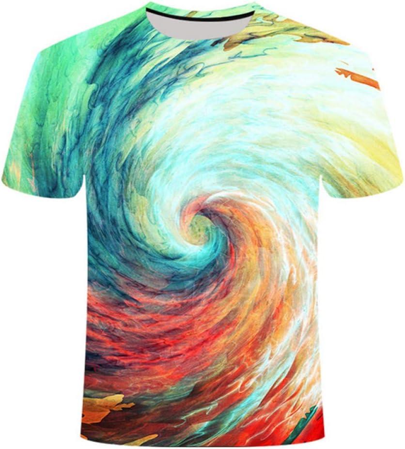DUANXIUGE Colorido Camiseta De Impresión Hipnótica Vértigo Unisxe Camisetas Divertidas De Manga Corta Hombres/Mujeres Harajuku Tops Camiseta Psicodélica Paisley 3D: Amazon.es: Deportes y aire libre