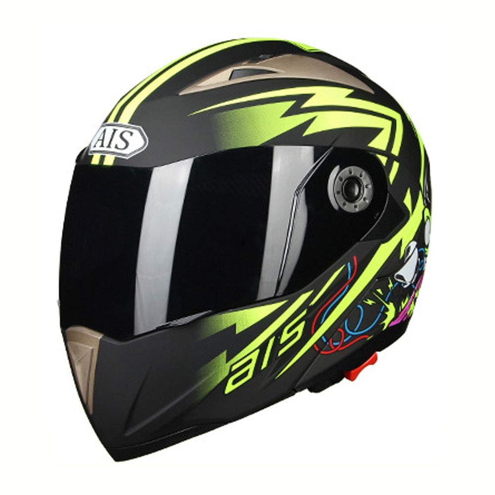 HYH 黒と緑のABSオートバイメンズフルカバーヘルメットダブルレンズ電気自動車機関車屋外乗馬オープンフェイスヘルメットピエロ落書き いい人生 (Size : XXL) XX-Large  B07SCSGT2L