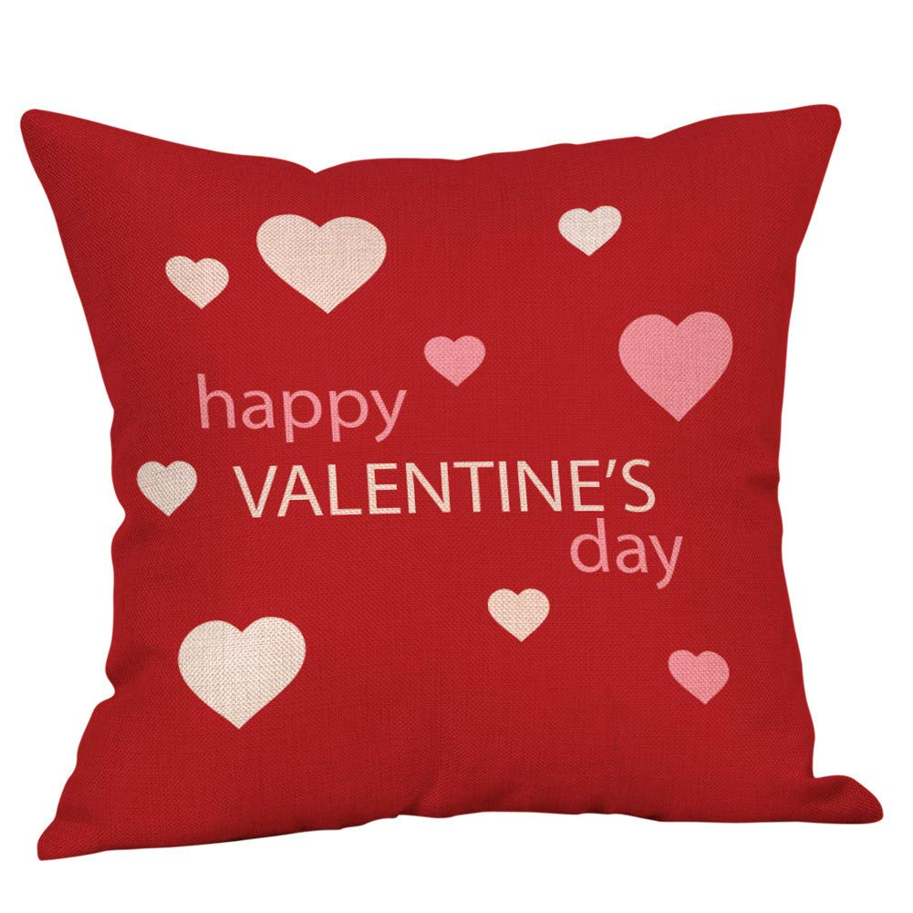 Valentine's Day Throw Pillow Case Love Launch''I Love You'' Cotton Linen Pillow Cover Printed Square Cushion Cover Pillowcase Home Decor for Sofa Couch Bedroom Car (F)