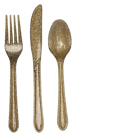 Amazon.com: Creative Converting Premium Plastic Glitz Gold Glitter Cutlery, 48 Utensils Per Package: Kitchen & Dining