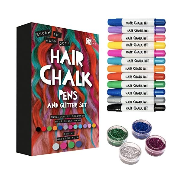 Hair Chalk Pens and Glitters - 12 Chalks and 4 Glitters - Deluxe Set 3