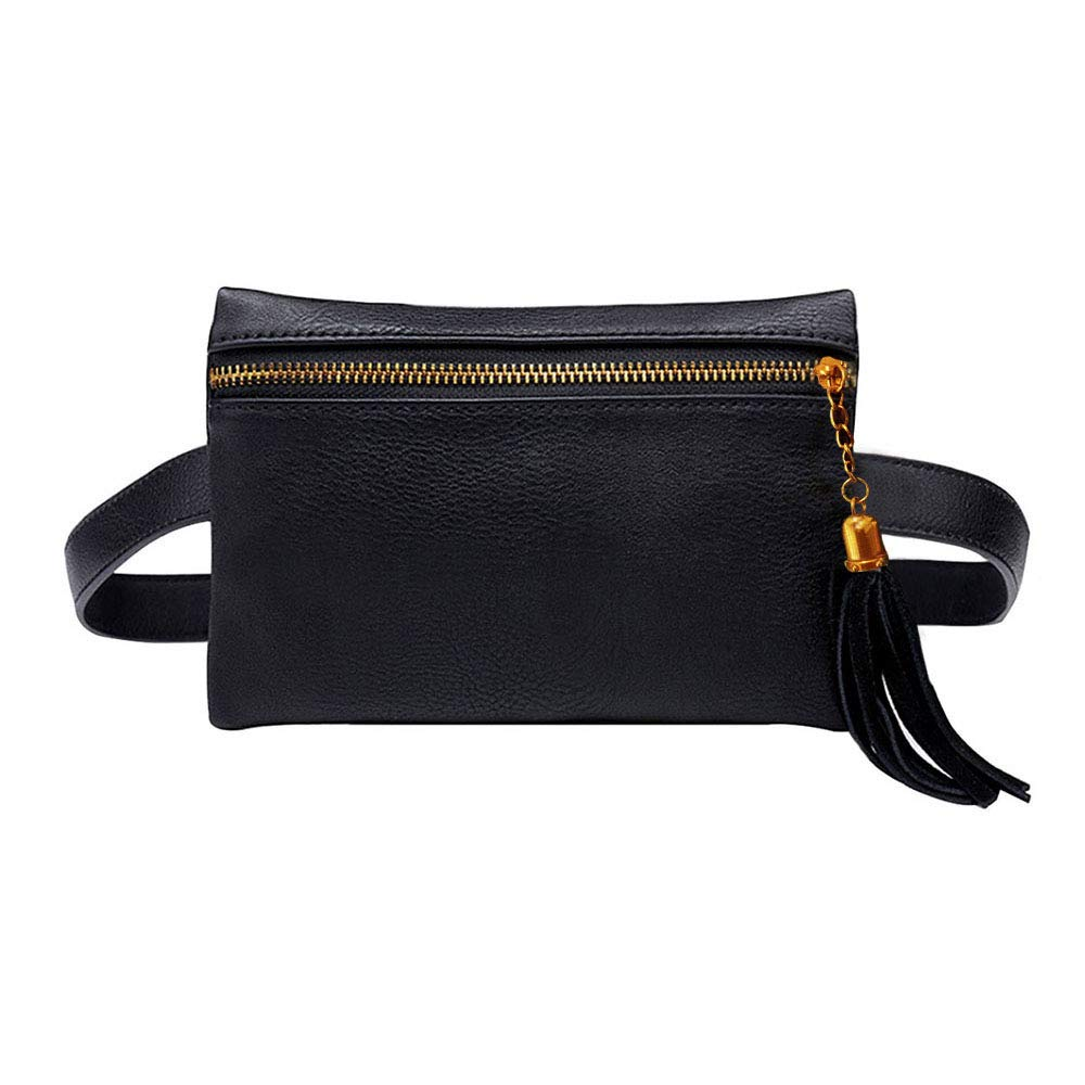 Rebecca Women Girls PU Leather Fanny Pack Casual Waist Bag Tassels Cell Phone Pocket with Removable Belt (Black) Rebecca US