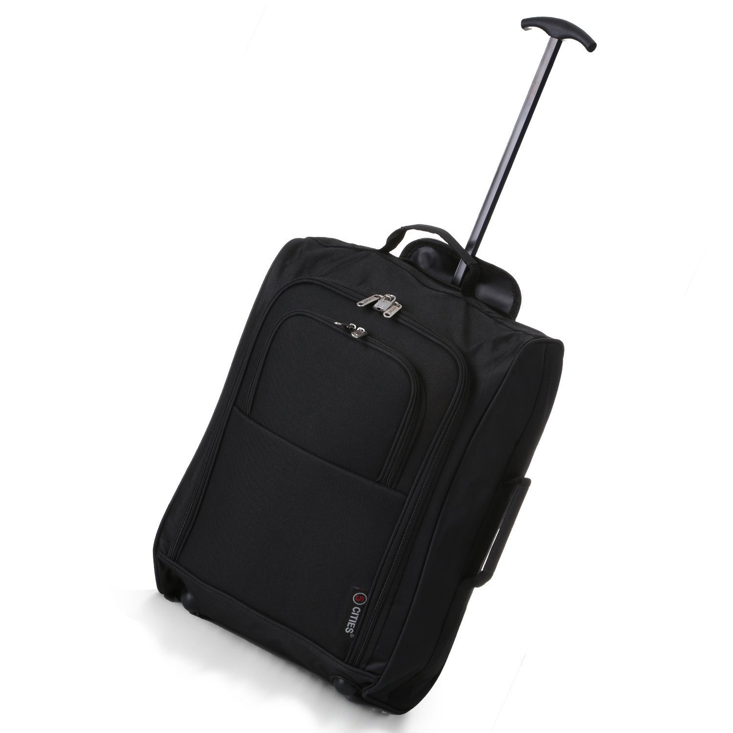 5 Cities Cabin Trolley Hand Luggage Bag Black Plain 55CM: Amazon ...