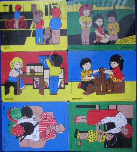 School Specialty Character Education Wooden Puzzle Set of 6 (Character Education Puzzles)