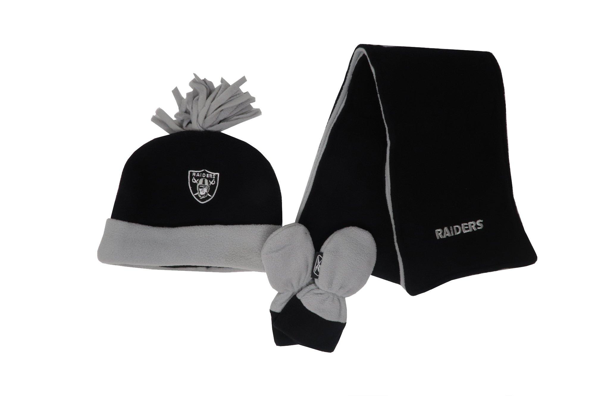 Reebok Infant/Kid's NFL Oakland Raiders Football Black Beanie, Mittens, Scarf (4-7 Kids/Children)