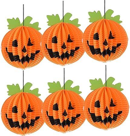 Konesky Linterna de Papel de Calabaza Linterna Colgante de Halloween (6 Pack): Amazon.es: Juguetes y juegos