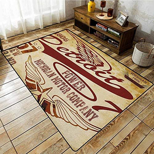 Non-Slip Rug,Detroit,Vintage Elements Michigan Company Free Wings Transport Auto Show Themed,Extra Large Rug Pale Yellow Burgundy -