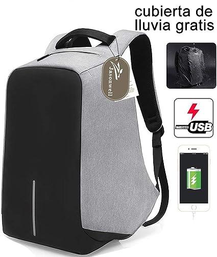 62efae53653 Jasonwell Mochila para Laptop Antirrobo con USB Puerto de Carga Portátil  Mochila de Viaje Business Laptop