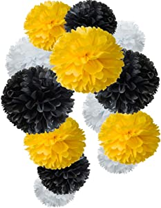 Paper Flower Tissue Pom Poms Bee Party Supplies (Black,Yellow,White,12pc)