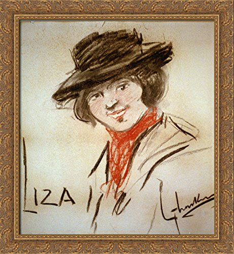 Drawing of Eliza Doolittle, a Character from George Bernard Shaw's Play Pygmalion 28x32 Large Gold Ornate Wood Framed Canvas Art by George LUKS