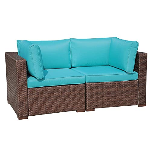 OC Orange-Casual Loveseat 2 Pcs Patio Sofa Set with Back Seat Cushions, Brown Wicker Turquoise Cushion