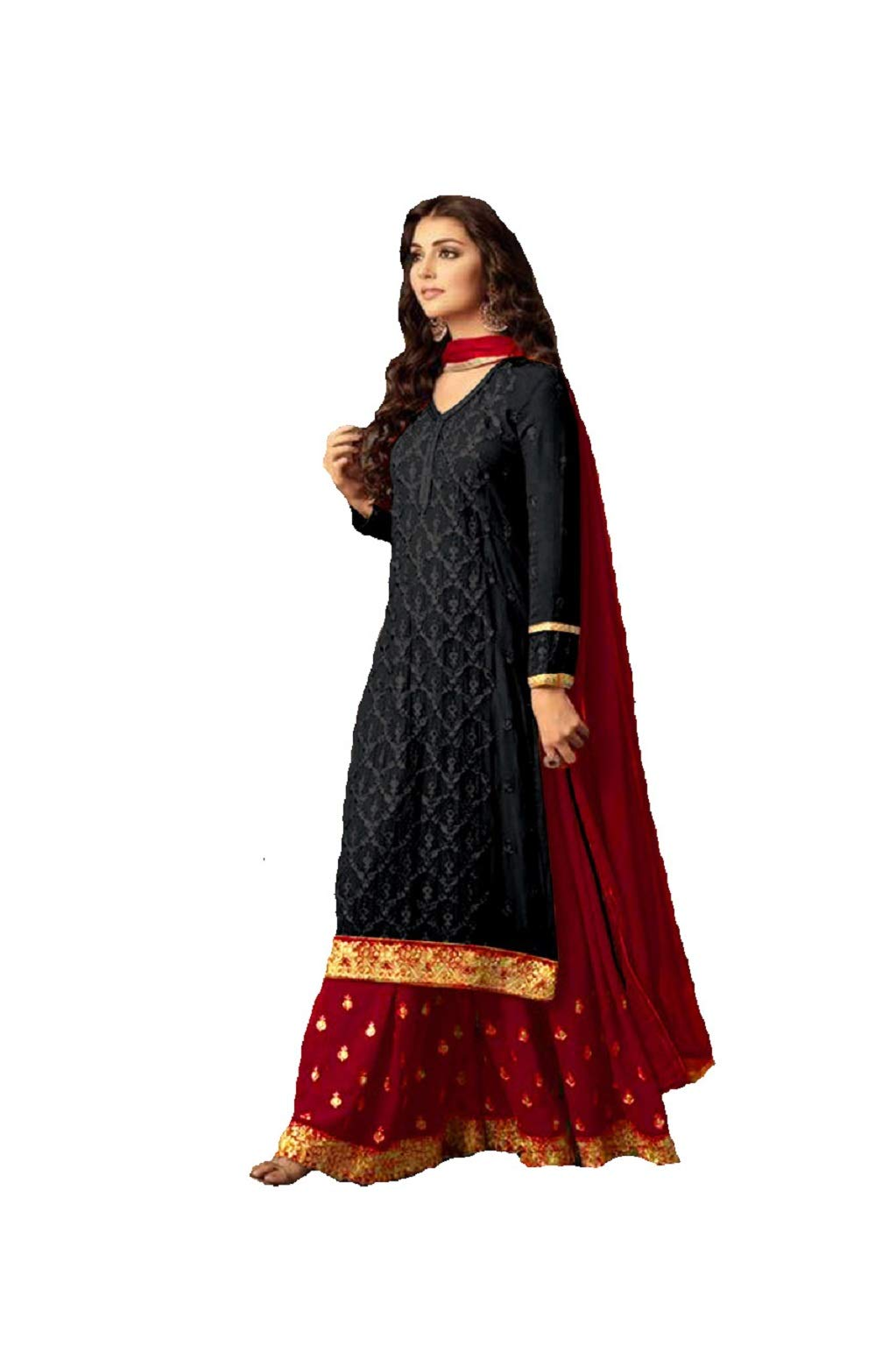 Delisa Readymade Eid Special Indian/Pakistani Party Wear Palazzo Style Salwar Kameez for Women (0X-PLUS-48, Black)