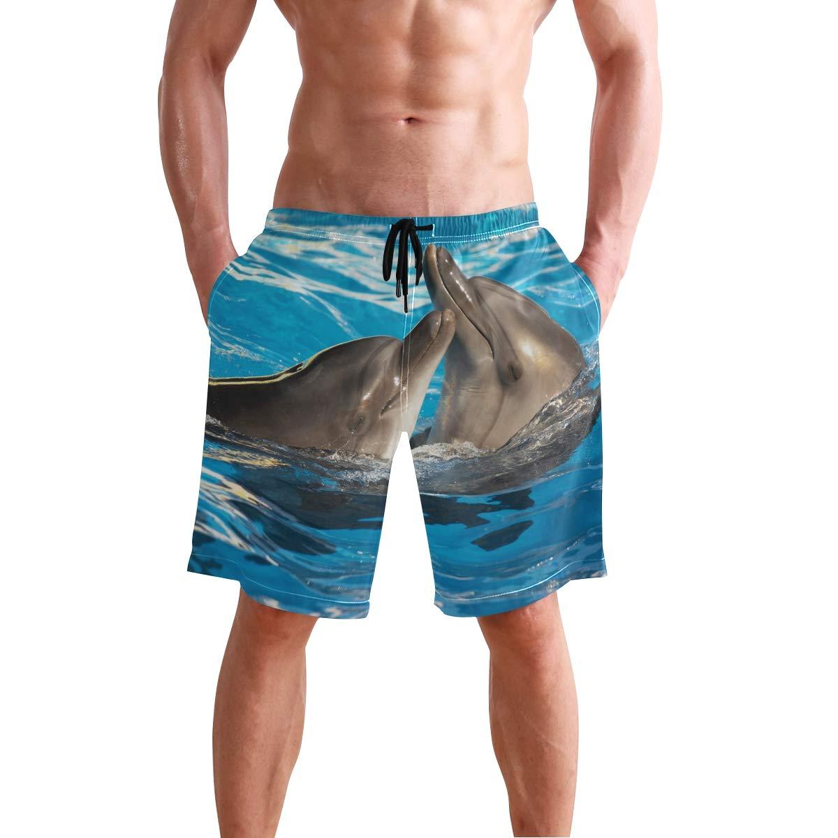 DEYYA Original Dolphin Love Summer Beach Shorts Pants Mens Swim Trunks Board Short for Men