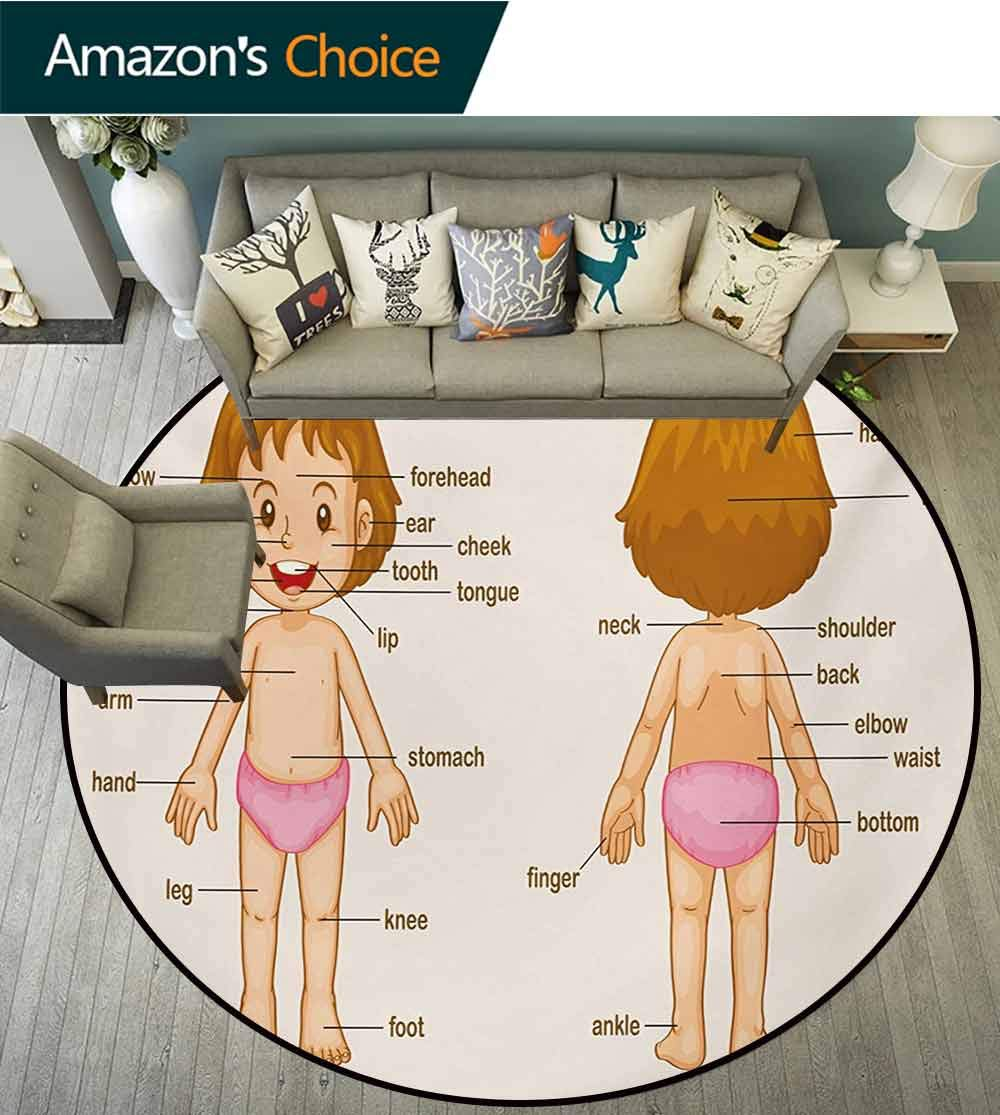 RUGSMAT Educational Anti-Skid Area Rug,Cute Little Cartoon Girl Children Body Parts School Science Class Green Soft Area Rugs,Diameter-55 Inch Pale Pink Brown Cream