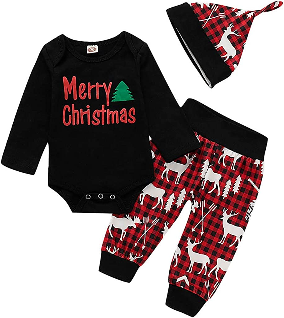 partysu Baby Boys Girls Christmas Letter Print Bodysuit Romper+Deer Pants Outfits Cotton Blend with Hat