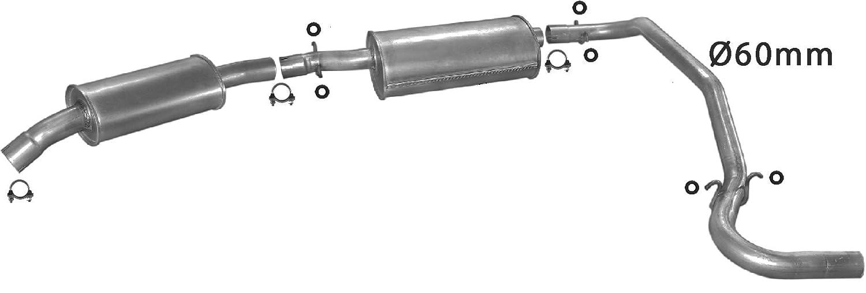 ETS-EXHAUST 5297 Il sistema di silenziatori (pour C25 1987-1994 / DUCATO 1986-1994 / J5 2.5 TD BUS 1988-1994) ETS-SCARICO