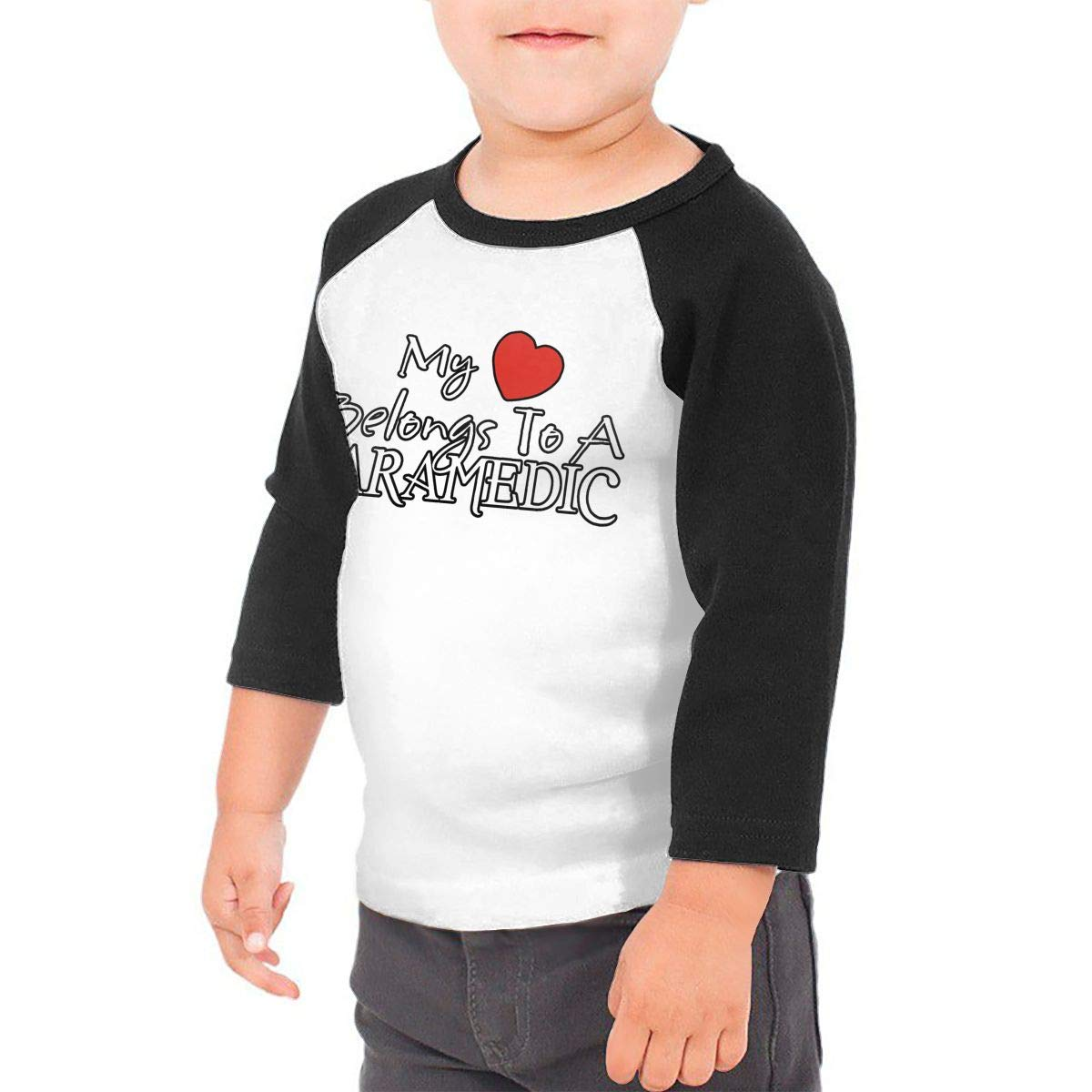 Manlee My Heart Belongs to A Paramedic Unisex 100/% Cotton Childrens 3//4 Sleeves T-Shirt Top Tees 2T~5//6T