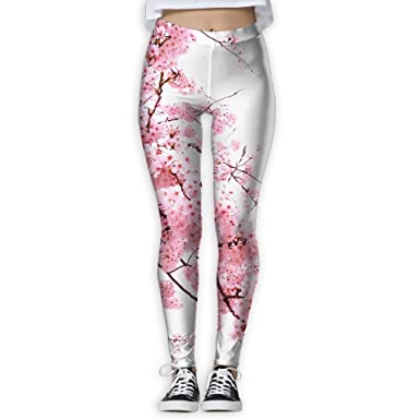 fd2c25f195 Image Unavailable. Image not available for. Color: Cherry Blossom Tree  Branch Spring Season Elastic High Waist Yoga ...