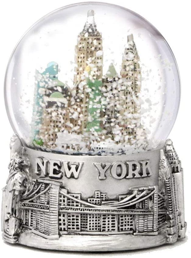 New York City Argent lign/é de couleur Boule de neige souvenir de 65/mm NYC Skyline Snow globes 8,9/cm