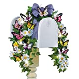 Butterfly Mailbox Floral Swag Spring Decoration with Solar Lights