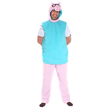 Mens Peppa Pig Daddy Pig Fancy Dress Costume Amazon Co Uk Toys Games