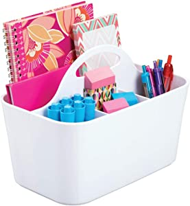 mDesign Small Office Storage Organizer Utility Tote Caddy Holder with Handle for Cabinets, Desks, Workspaces - Holds Desktop Office Supplies, Gel Pens, Pencils, Markers, Staplers - White