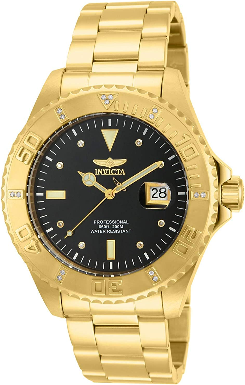 Invicta Men s 15286 Pro Diver 18k Yellow Gold Ion-Plated Stainless Steel and Diamond Accent Watch