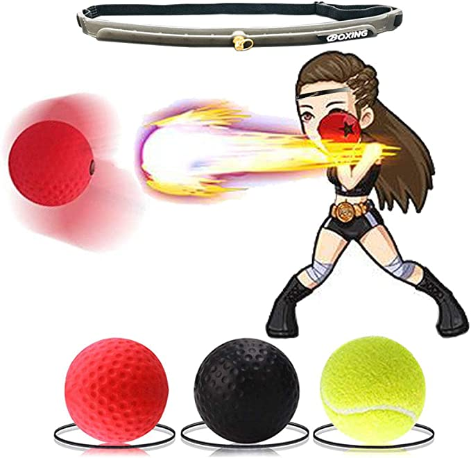 Reaction Ball Set Boxing Reflex Ball 3 Training Levels for All Ages Plus 1 Adjustable Headband Portable to Train Your Reaction Punching Speed Fighting Skills and Hand Eye Coordination Fun Game