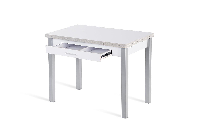 100//150 x 60 cm Portus Gelsomino-Tavolo da Cucina Duplo Postaposate e cassetto con Maniglia Colore: Bianco