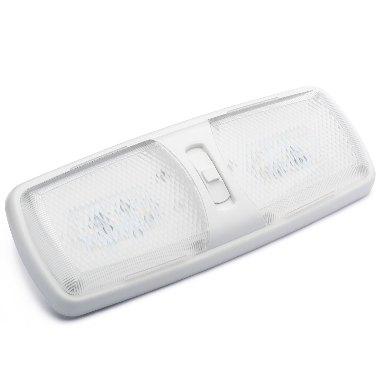 Lumitronics Designer Double LED Dome Light with 3-Way Switch and Removable Lenses. Interior Replacement 12V Lighting for RVs, Motorhomes, Campers, 5th Wheels, Trailers - Mounting Hardware Included