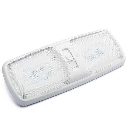 Lumitronics Funda Doble led RV luz de cúpula con Interruptor de 3 Posiciones y extraíble Lentes