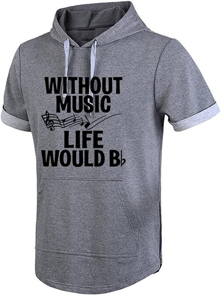 Conquershop Mens Without Music Life Would Be Flat Funny Music Hoodie Short Sleeve