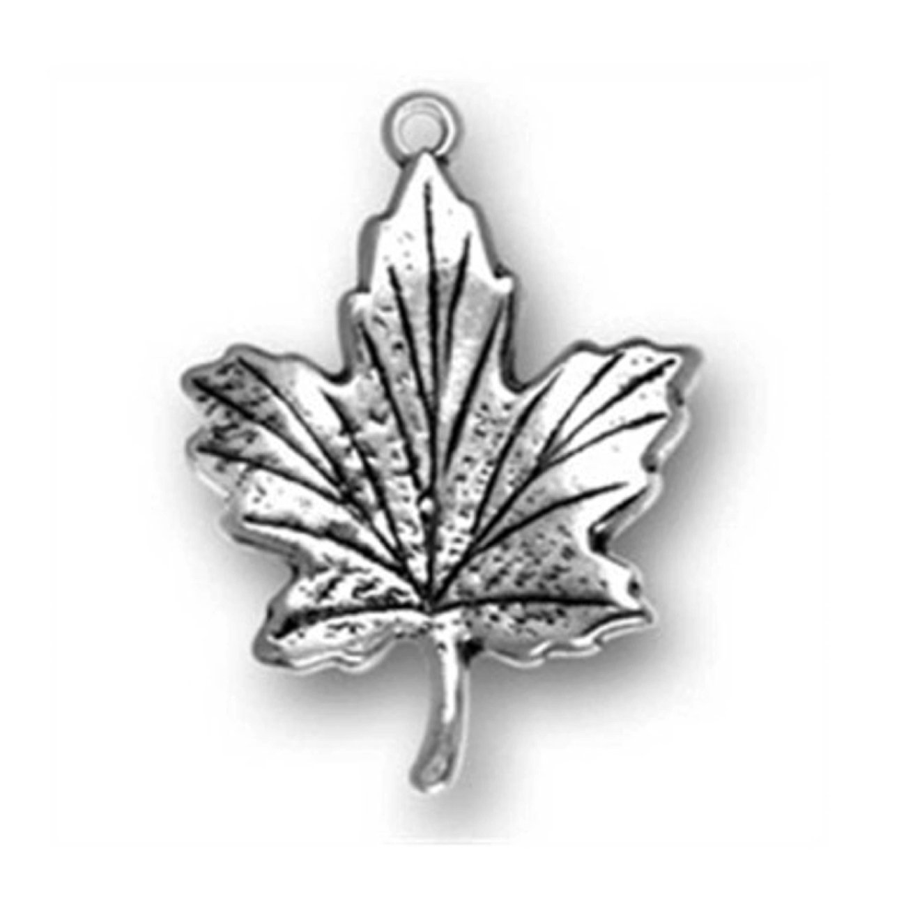Sterling Silver Womens 1mm Box Chain 3D Canada Maple Leaf Pendant Necklace