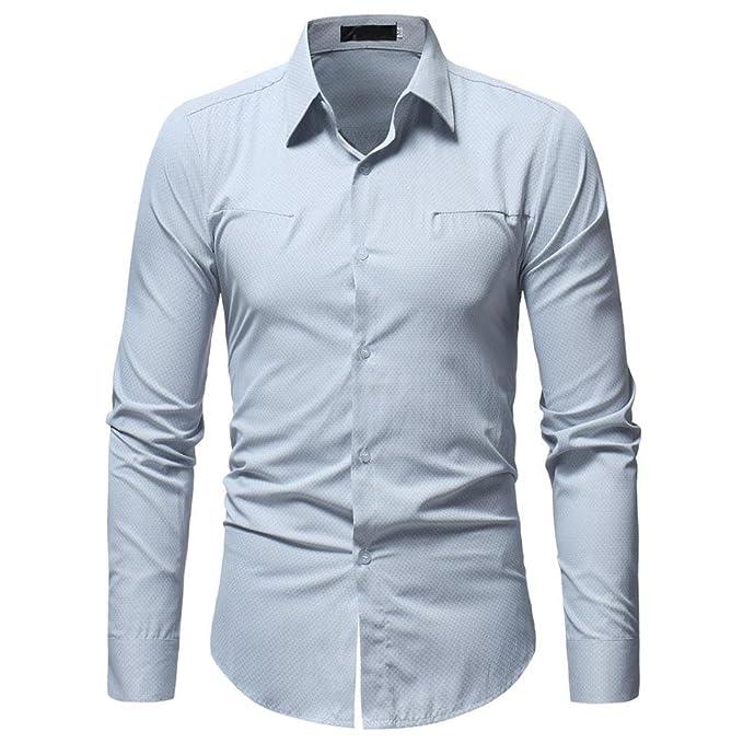 Resplend Camisa de Hombre Camisa de Manga Larga Casual Masculina de Color sólido de Moda
