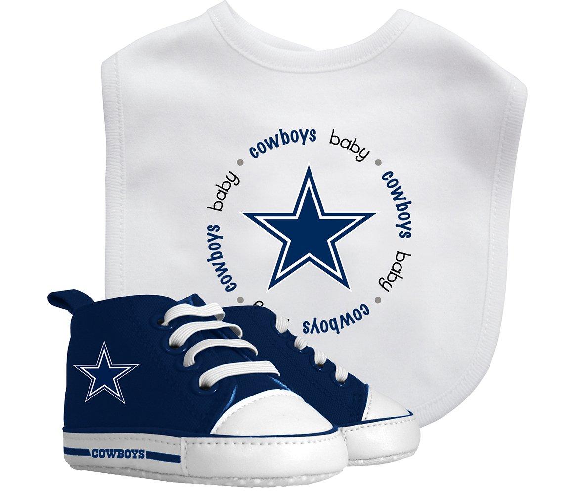Mozlly Multipack - Baby Fanatic Dallas Cowboys Feeding Bib with Pre-Walker Shoes