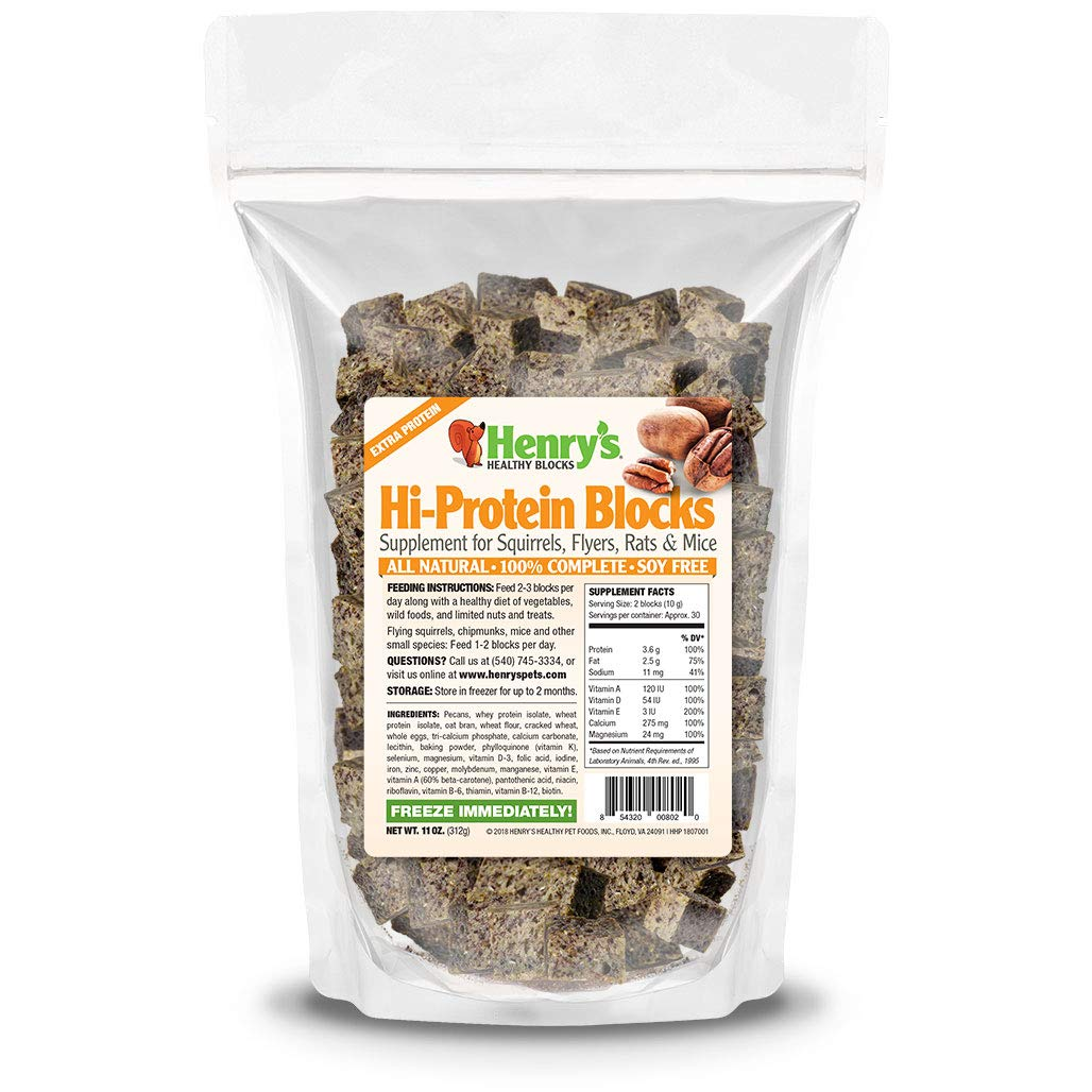 Henry's Hi-Protein Blocks - The Only Food for Squirrels, Flyers, Rats and Mice Baked Fresh to Order, 11 Ounces by Henry's Healthy Pets