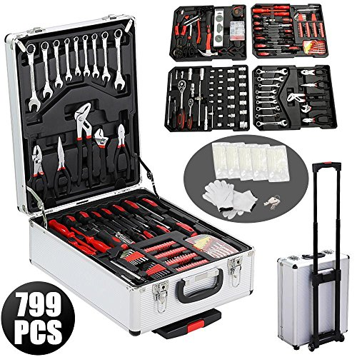 Yaheetech 799pcs Sturdy Aluminium Tool Set Chest Carry Wheeled Case Box Trolley (Set With Tool Case)