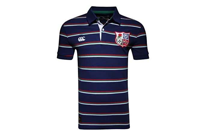 British & Irish Lions 1888 Stripe Pique Rugby Polo Shirt - Faded Navy -  size S