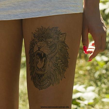 Lion Tattoo Body Tattoo HB-496 One-Piece Temporary Tattoo, Black, 1 ...