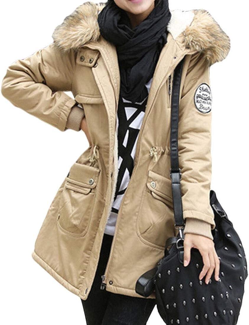 desolateness Women Faux Fur Lined Parka Winter Outwear Maxi Warm Coats Hood Coat
