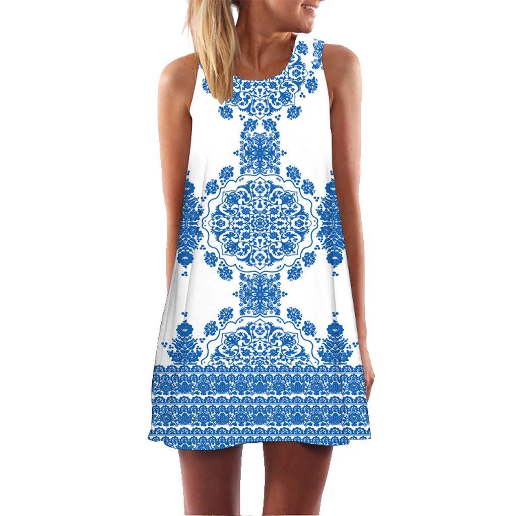 Womens Dress Summer Casual T Shirt Dresses Boho Sleeveless Floral Printed Beach Cover up Casual T-Shirt Short Dress Blue
